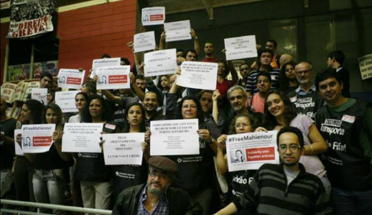 عمال مترو ساو باولو يتضامنون مع ماهينور المصري
