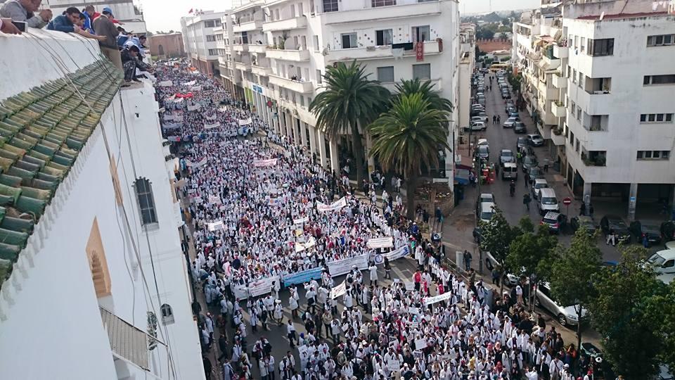 مظاهرات الأساتذة المتعاقدون بالمغرب