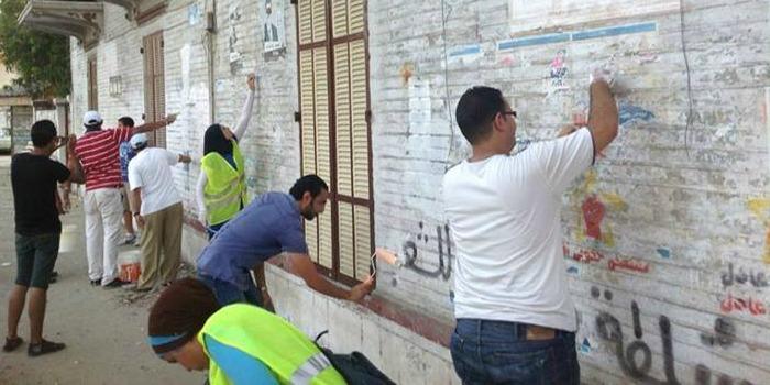 حملة لمسح جرافيتي الثورة من شوارع بورسعيد
