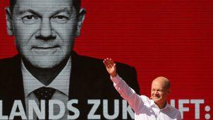 أولاف شولتس، وزير المالية ومرشح الحزب الاشتراكي الديمقراطي لمنصب المستشار، في حملته الانتخابية