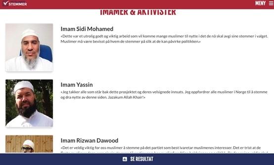 صورة من موقع المسلمون ينتخبون الذي انشأه الحزب المسيحي النرويجي للدعاية له خلال الانتخابات